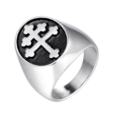 NEW Magnum PI Cross of Lorraine Stainless Steel Ring Knights Templar Crusader
