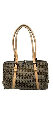 f53e80b2f0c Authentic FENDI Zucca Canvas Leather Shoulder Hand Bag Black Made In Italy