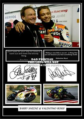 (ab142)  BARRY SHEENE & VALENTINO ROSSI  SIGNED  A4  PHOTOGRAPH  (reprint) #####