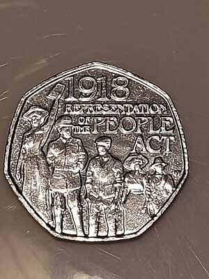 NEW 2018 50p COIN PEOPLE'S ACT 1918 fifty pence from sealed bag