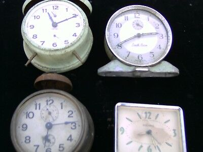 Vintage Wind Up Clocks-- 4 In Total----Spares Or Repair--Non Runners---Job Lot