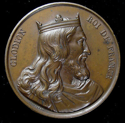 France. King Clodion, 2nd French King, 5th Century, Portrait Medal, 1840*