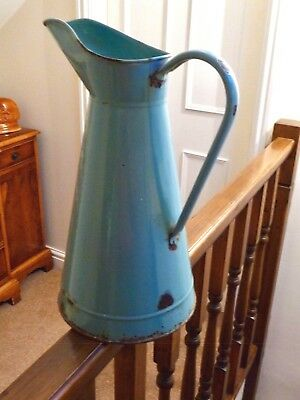 Very Tall Antique/Vintage French Enamelled Metal Jug in light blue/green finish