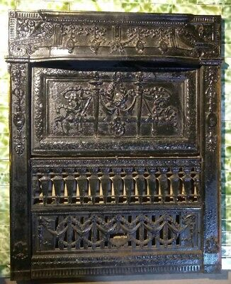 Antique Victorian Fireplace Summer Cover Screen Classical Details Cast Iron