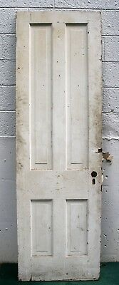 "26""x84"" Antique Vintage Old Victorian Solid Wood Wooden Interior Door 4 Panels"