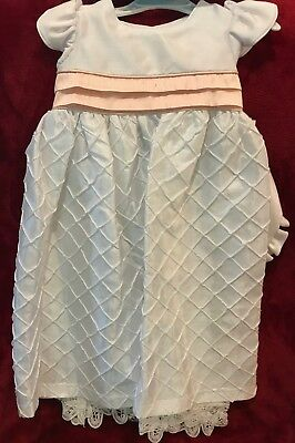 NWT INFANT CHRISTENING GOWN W/ PINK SASH & BONNET- WHITE - 9 - 12 mo