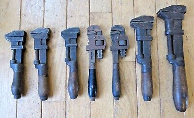 Vintage Lot of (7) Wood Handle Pipe / Monkey Wrenches - Coes, Danielson & others