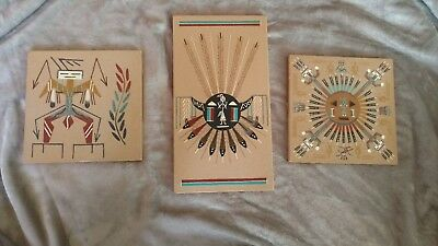 Lot of 3 signed Native American Indian Navajo Sand Paintings Art