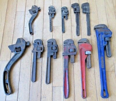 Lot of (11) Pipe / Monkey Wrenches - Irwin, Stillson, Barcolo, Bonney, Trimo