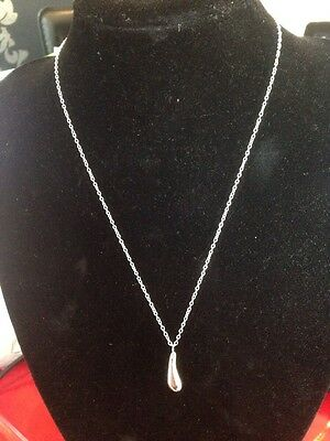 925 Stamped Sterling Silver Water Drop Pendant Necklace On 1mm Fine Chain DRPslv