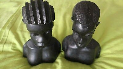 Pair Of  Vintage Heavy African Carved Heads  10 Inches Tall In Dark Wood
