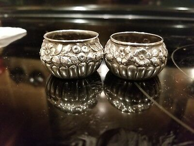 Antique Sterling Silver Salt And Pepper Dishes