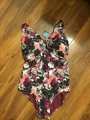 Lovely BNWT M/&S bright multi print plunge tummy control swimsuit 24