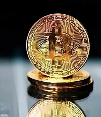 24K Gold Plated Real Physical Bitcoin, Gold, Antique Look Like, Brand New Coin