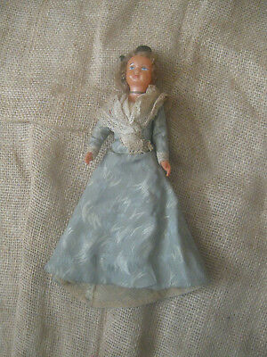 """Antique vintage FRENCH CELLULOID DOLL SNF Societe Nobel France dress toy 7 1/2"""""""