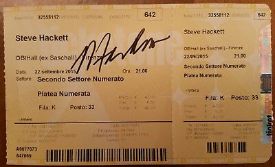 Steve Hackett Genesis Very Rare Signed Ticket 2015 Florence Italy