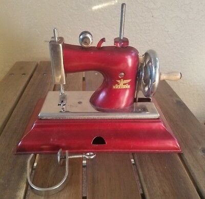 Child's Size Miniature Sewing Machine Casige In the Original Fabric Box