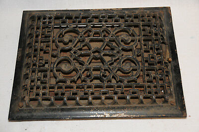 Antique Cast Iron Heat Grate Vent Register Victorian 12x9 Inside 13X10 Outside