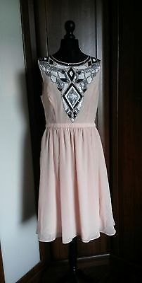 SPOTLIGHT by Warehouse Nude/Peach sequined art deco 40s 50s flapper style dress