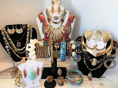 Huge Boho Jewelry Lot Tribal Festival Style Some Sterling Silver Peruvian Woven