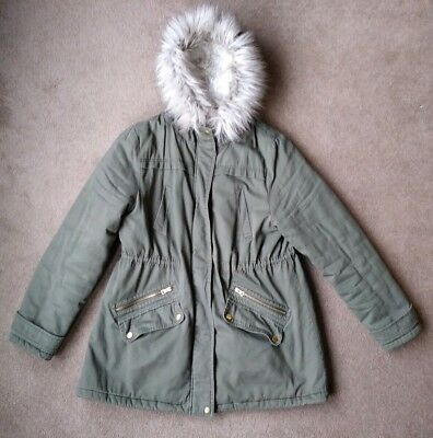 New Look Green Parka Style Maternity Coat with Faux Fur Hood Size 14