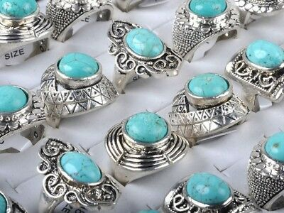 Antique Retro Vintage Silver Plated Blue Signet Domed 10 Piece Ring set!