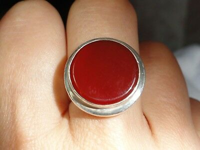 Vintage Antique ?Sterling silver Arts & Crafts Style ring Large carnelian stone