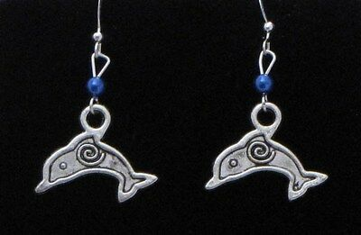 Dolphin Dangling Earrings (D1) - You pick the Bead Color..