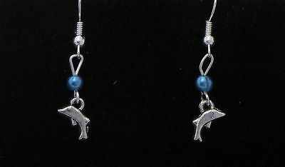 Dolphin Dangling Earrings (D5) - You pick the Bead Color..