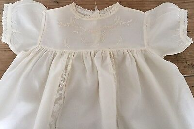Vintage Embroidered Lace Christening Gown Dress Ivory