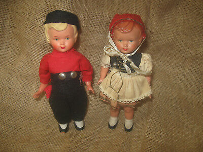Antique vintage GERMAN KEY WIND Up TOY toys BOY & GIRL Celluoid doll mechanical