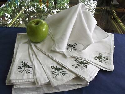 """12 Vintage White Linen 16"""" Lunch Napkins Organdy Insert Green Floral Embroidery"""