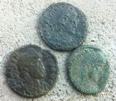 LOT OF 3 ANCIENT ROMAN  COINS-need fine cleaning