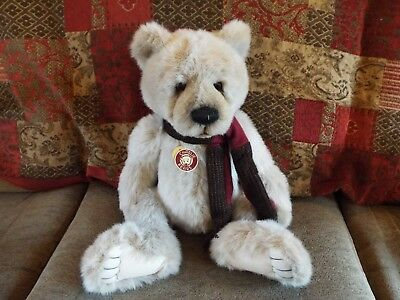 """Early/rare Charlie Bear 'kenny', Retired, 2009, 20"""" Creamy White."""