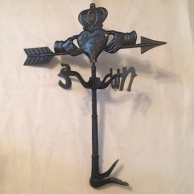 Antique Whitehall Products Crown Hands Irish Heart Claddagh Metal Weather vane