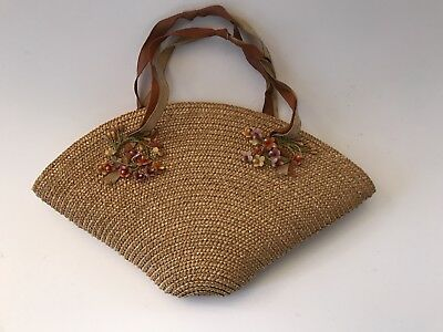 Vintage Childs Straw Purse With Ribbons And Flowers! NICE