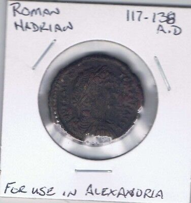 117-138 A.D. Roman Hadrian  For Use in Alexandria