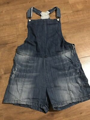 Girls M&S Blue Denim Dungarees Shorts - Age 13 - 14 Years