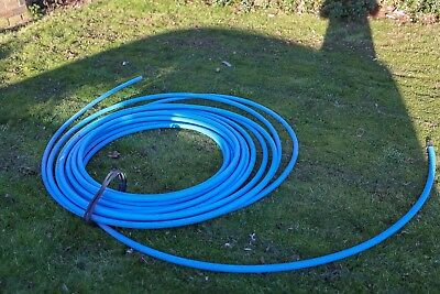 Blue MDPE plastic water pipe 25mm approx 15m plus