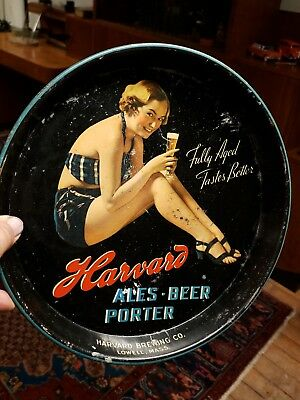 Antique Vintage Harvard Brewing Co. Advertising Tray Pin Up Girl