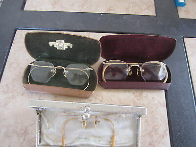 LOT Antique Gold Filled  Rimmed Wire Rim Spectacle Reading Eye Glasses & CASES