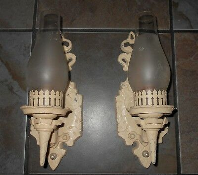 Vintage Pair of Cast Aluminum Art Deco Wall Sconce Electric Lights / Lamps