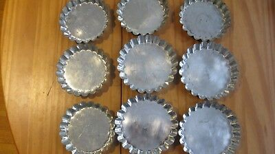 Lot 9 Petite Tin Pastry Molds for Baking Tarts, Candy, Soap Made in France