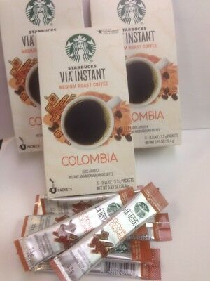 Lot Of 64 Starbucks Columbia Via Instant Coffee Packets exp July 2019
