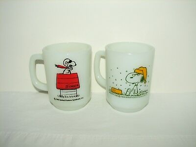 Anchor Hocking Fire King Snoopy Cup Mug Red Baron French Toast