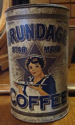 """Old Lithographed, 3 Lb., """"Brundage Star Maid Coffee"""" Tin"""