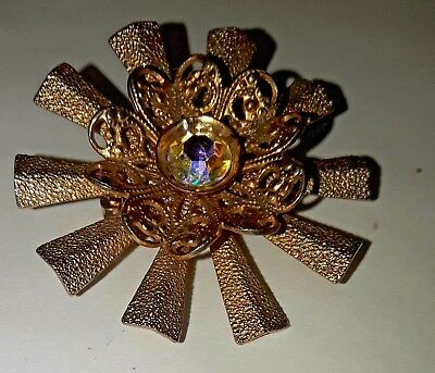 Vintage Great Starburst crystal center  brooch pin Estate Piece