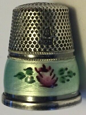 925 Sterling Silver Enameled Vintage Thimble Size 8.-B626