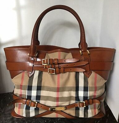 f79e8fbc9ce9 Authentic Burberry Bridle House Check Gladstone Tote Satchel Made in Italy