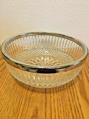 FB. Rogers Large Heavy Cut Glass 24% Lead Crystal Bowl with Silver Plated Rim